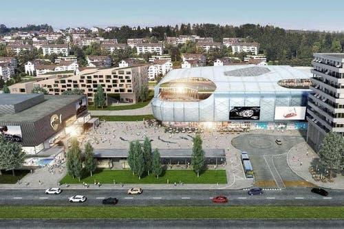 11. Juni: Grundsteinlegung für die «Mall of Switzerland» in Ebikon. So soll eines der grössten Einkaufszentrum der Schweiz dereinst aussehen. (Bild: Visualisierung PD)