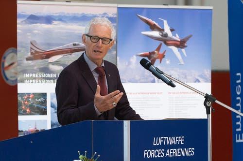 Markus Gygax, Präsident der Stiftung Pro Aero spricht. (Bild: Keystone)