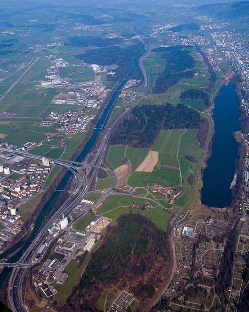 Luftaufnahme des Projektperimeters im Luzerner Reusstal. (Bild: PD)