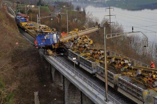 Die Entgleisung ereignete sich bei einer Brücke, zwei Kilometer nördlich von Arth. (Bild: Keystone)