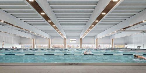 50-Meter-Schwimmbecken mit zehn Bahnen. (Bild: Visualisierung Campus Sursee)