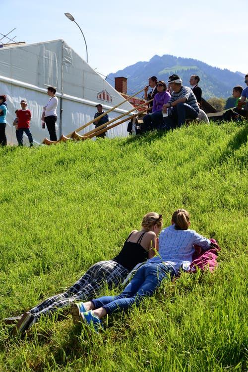Alphornbläser und sonntägliche Gemütlichkeit auf dem Rasen. (Bild: Robert Hess / Neue OZ)