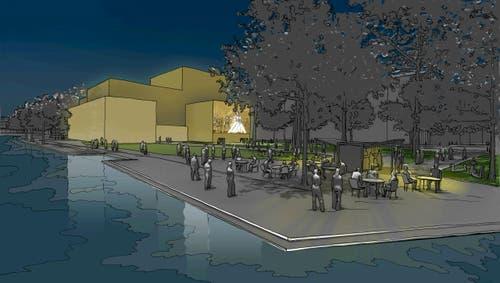 Salle Modulable am Standort Inseli bei Nacht mit Aussenprojektion (Bild: Visualisierung PD)
