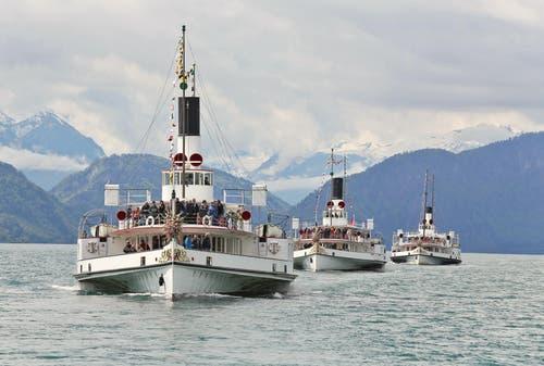 """""""Parade der Gastfreundschaft"""" - SGV Dampferparade zu Ehren des Gästivals. (Bild: Leserbild: Bruno Schuler)"""