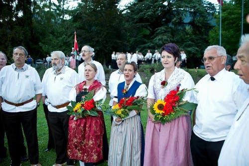 Der Jodlerklub Brunnen mit einer gesanglichen Einlage. (Bild: Erhard Gick / Neue SZ)