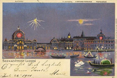 Das Seenachtsfest Luzern lockte bereits zu Beginn des 20. Jahrhunderts Gäste an. (Bild: PD)