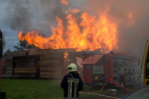 Die Holzbeigen in der Sägerei haben Feuer gefangen. (Bild: Dominik Wunderli / Neue LZ)