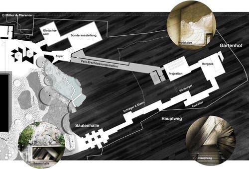 Mitte-Links im Grundriss das freigestellte Schweizerhaus (schwarz) mit dem neu geschaffenen Aussenbereich. In der Bildmitte und rechts die neuen Ausstellungsräume und der Erlebnisrundgang im Felsinnern. (Bild: Visualisierung Miller + Maranta, Basel)