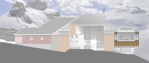 Visualisierung der Bergstation der neuen Gondelbahn Engelberg-Stand. (Bild: Visualisierung PD)