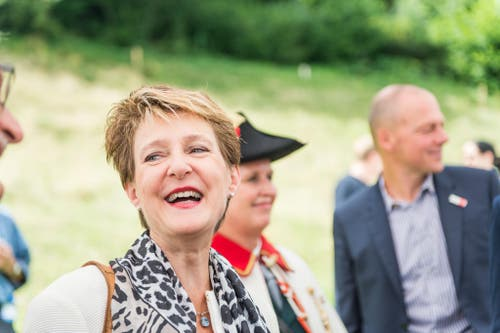 1. August Feier auf dem Rütli: Im Bild ist Bundespräsidentin Simmoneta Sommaruga. (Bild: Roger Grütter / Neue LZ)
