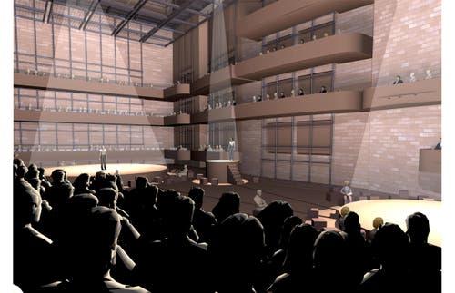Mögliche Innenansicht der grossen Bühne im neuen Theater Luzern: Offene Flachbodenanordnung mit mehreren Bühnen. (Bild: Visualisierung PD)
