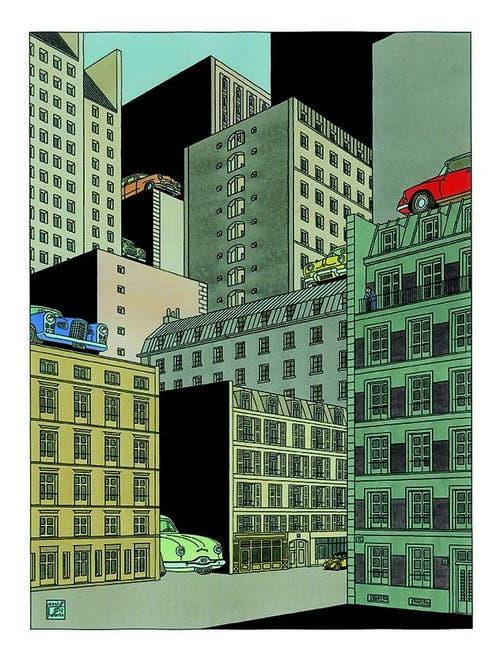 New York in den Augen des niederländischen Zeichners und Designers Joost Swarte, dem man derzeit im Hotel Schweizerhof bei der Arbeit zusehen kann.