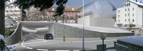 Stadttunnel-Ausfahrt Richtung Ägeri. (Bild: PD)