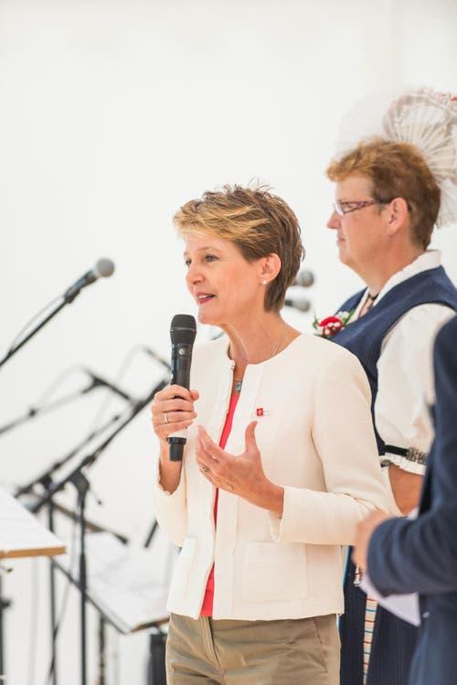 1. August Feier auf dem Rütli: Bundespräsidentin Simonetta Sommaruga während Ihrer Ansprache. (Bild: Roger Grütter / Neue LZ)