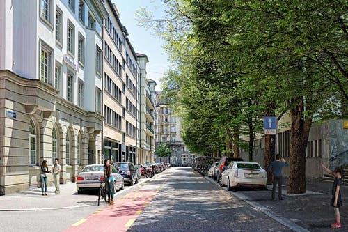 Die Morgartenstrasse wie sie nach der Sanierung aussehen soll. (Bild: pd / Visualisierung)