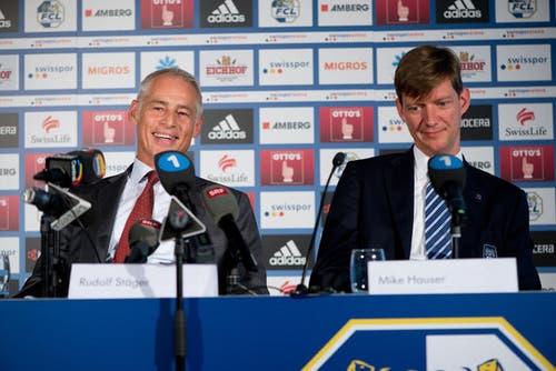 26. September 2013: Nun ist klar: Ruedi Stäger wird neuer Präsident des FC Luzern. An einer Pressekonferenz wird der Nachfolger von Mike Hauser vorgestellt. (Bild: Dominik Wunderli / Neue LZ)