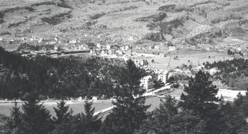 Das Tierparkareal um 1900: In dieser Zeit lebten aufgrund der Gotthardbahneröffnung viele Bähnler in Goldau – sie waren es, die den Park in stundenlanger Fronarbeit aufbauten. (Bild: pd / Tierpark Goldau)