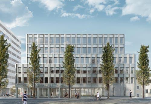 Der Neubau der Höheren Fachschule Gesundheit Zentralschweiz neben dem Kantonsspital Luzern, links das Spital-Personalhaus. (Bild: Visualisierung Metron Architektur AG)