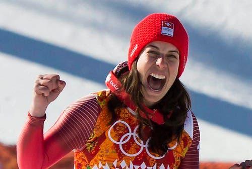 12. Februar: Die Engelbergerin Dominique Gisin gewinnt in Sotschi an den Olympischen Spielen Gold. (Bild: Keystone)