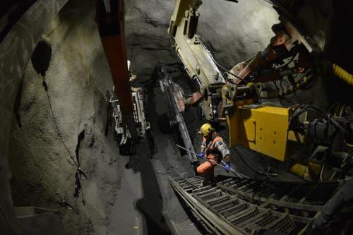 Bauarbeiten beim unteren Tunnel, der 252 Meter lang ist (15.10.2016) (Bild: PD)