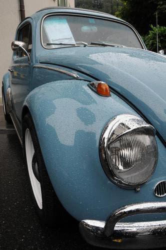 Das Original: Ein VW-Käfer zeigt sich trotz Regen von der seiner gepflegten Seite. (Bild: Geri Wyss / Neue OZ)