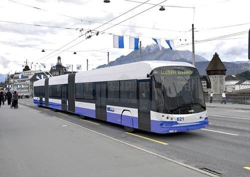 So sehen die neuen Busse aus, die ab Sommer auf Luzerns Strassen verkehren werden. (Bild: PD)