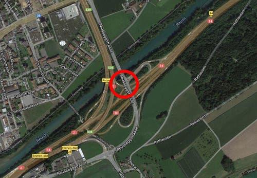 Platz 10: Verbindungsrampe Autobahn A2-A14, Buchrain-Rothenburg, 2 Unfälle (Bild: Google)
