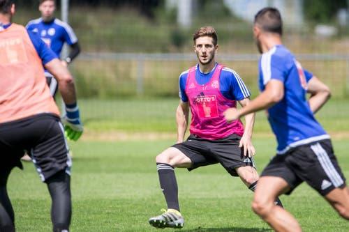 Simon Grether im Trainingsspiel. (Bild: Keystone / Alexandra Wey)