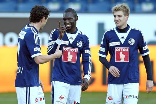 Luzerns Dimitar Rangelov, Sally Sarr und Florian Stahel (von links). (Bild: Philipp Schmidli / Neue LZ)
