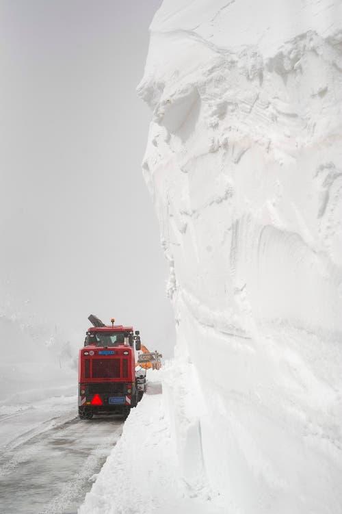Die Maschine bahnt sich einen Weg frei in Richtung Pass. (Bild: Keystone / Benedetto Galli)