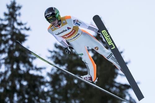 Er sprang auch am Sonntag zum Sieg: Peter Prevc. (Bild: Keystone / Alexandra Wey)