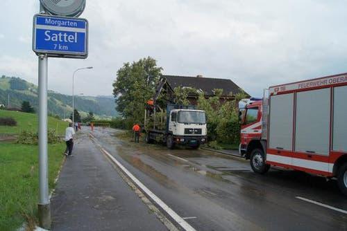 In Oberägeri fiel ein Baum auf ein Hausdach und verursachte einen Schaden von mehreren zehntausend Franken. (Bild: Zuger Polizei)