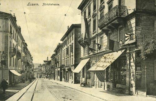 Zürichstrasse mit Tramschiene, 1907 (Bild: PD)