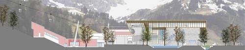 Visualisierung der Talstation der neuen Gondelbahn Engelberg-Stand. (Bild: Visualisierung PD)
