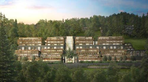 Die Fassaden des Waldhotels werden teilweise mit «Gabionen» gestaltet. Diese setzen die Stützmauern der umgebenden Hänge fort. Die «Gabionen» werden mit dem aus dem Aushub gewonnen Kalkstein gefüllt. Die Aussenstruktur des Hotels ist aus Lärchenholz geschaffen, das aus der unmittelbarer Umgebung stammt. (Bild: Visualisierung PD)