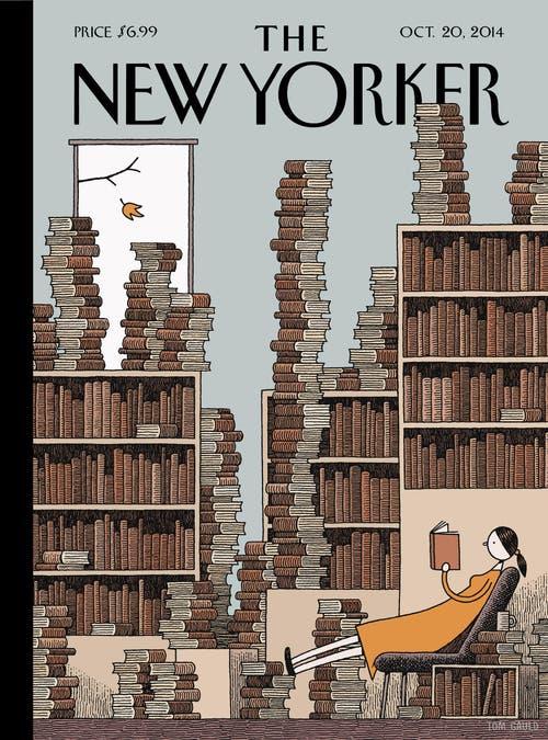 """Der Brite Tom Gauld mit einem Titelbild für die Zeitschrift """"The New Yorker"""". In Luzern ist er im Historischen Museum zu sehen."""