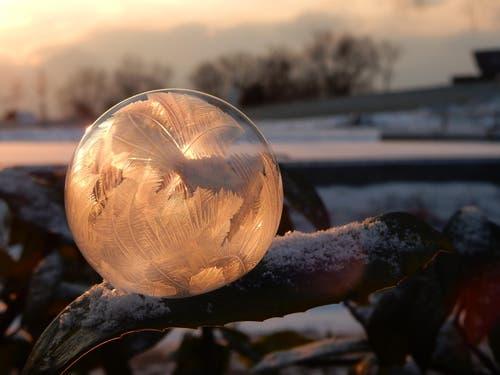 Gefrorene Seifenblase bei Sonnenaufgang (Bild: Uta Bockhorn)