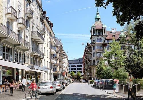 Die Frankenstrasse, wie sie nach der Sanierung aussehen soll. (Bild: pd / Visualisierung)