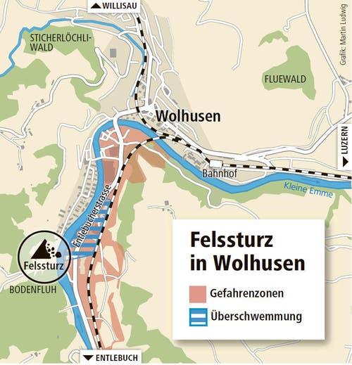 Das überschwemmte Gebiet (blau) und die Gefahrenzone (rot). (Bild: Grafik: Martin Ludwig)