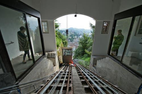 28. September: Nach einem jahrelangen Knatsch konnte am 28. September die neue Gütschbahn in Luzern in Betrieb genommen werden. (Bild: Dominik Wunderli (Neue LZ))