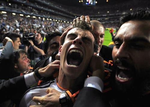 Real Madrid's Gareth Bale feiert sein zweites Tor im Champions League Final gegen Atletico Madrid. Real gewinnt 4:1. (Bild: Keystone)