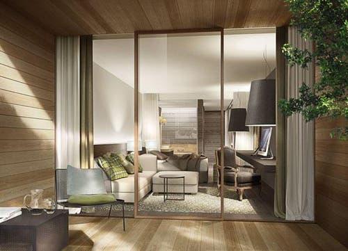 Im Waldhotel wird es 160 Zimmer und Suiten geben. (Bild: Visualisierung PD)