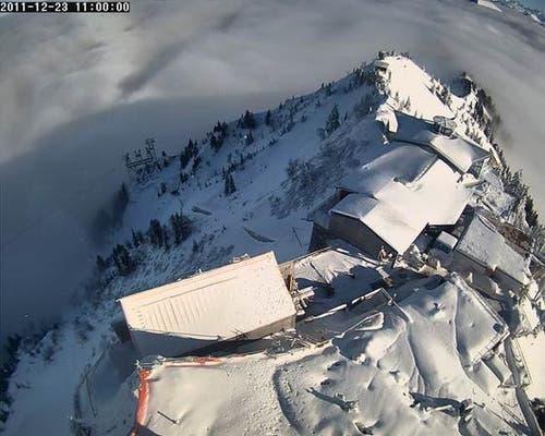 Eingeschneit: Das Stanserhorn am 23. Dezember 2011 (Bild: Webcam)