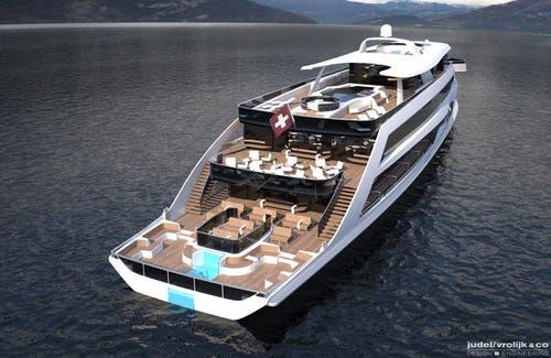 22. Oktober: Die SGV kündigt an, 14 Millionen Franken in ein neues Passagierschiff zu investieren. Das Schiff soll ab Frühling 2017 in den See stechen. (Bild: Visualisierung Shiptec)