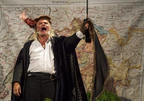 """Albrecht Hirche als Richard Wagner bei Proben für das Freilichtspiel """"Tell trifft Wagner"""". (Bild: Keystone)"""