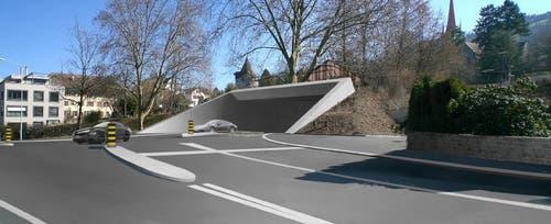 Einfahrt in den Stadttunnel von Arth Goldau kommend. (Bild: PD)