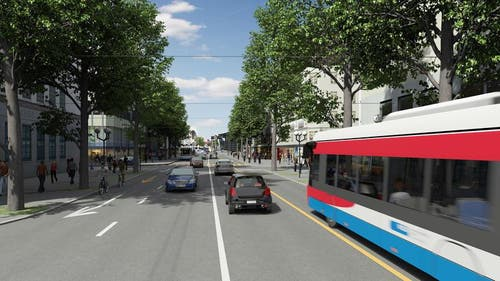 RBus auf der Pilatusstrasse (Bild: Visualisierung Mathys Partner)