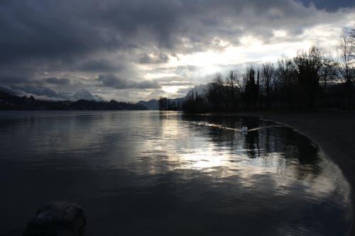 Tagesanbruch an der Ufschötti in Luzern. (Bild: Joël Rosset)