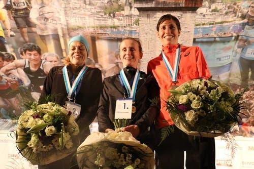 Die besten der Frauenelite, von links: Kate Hulls (2. Rang), Sonja Roman (1. Rang) und Fabienne Schlumpf (3. Rang). (Bild: Ramona Geiger / luzernerzeitung.ch)