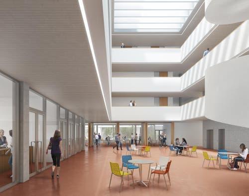 Herzstück des Neubaus ist das Foyer mit dem 14 Meter hohen Lichthof. (Bild: Visualisierung Metron Architektur AG)